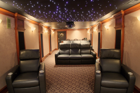 a comfortable home theater with great details