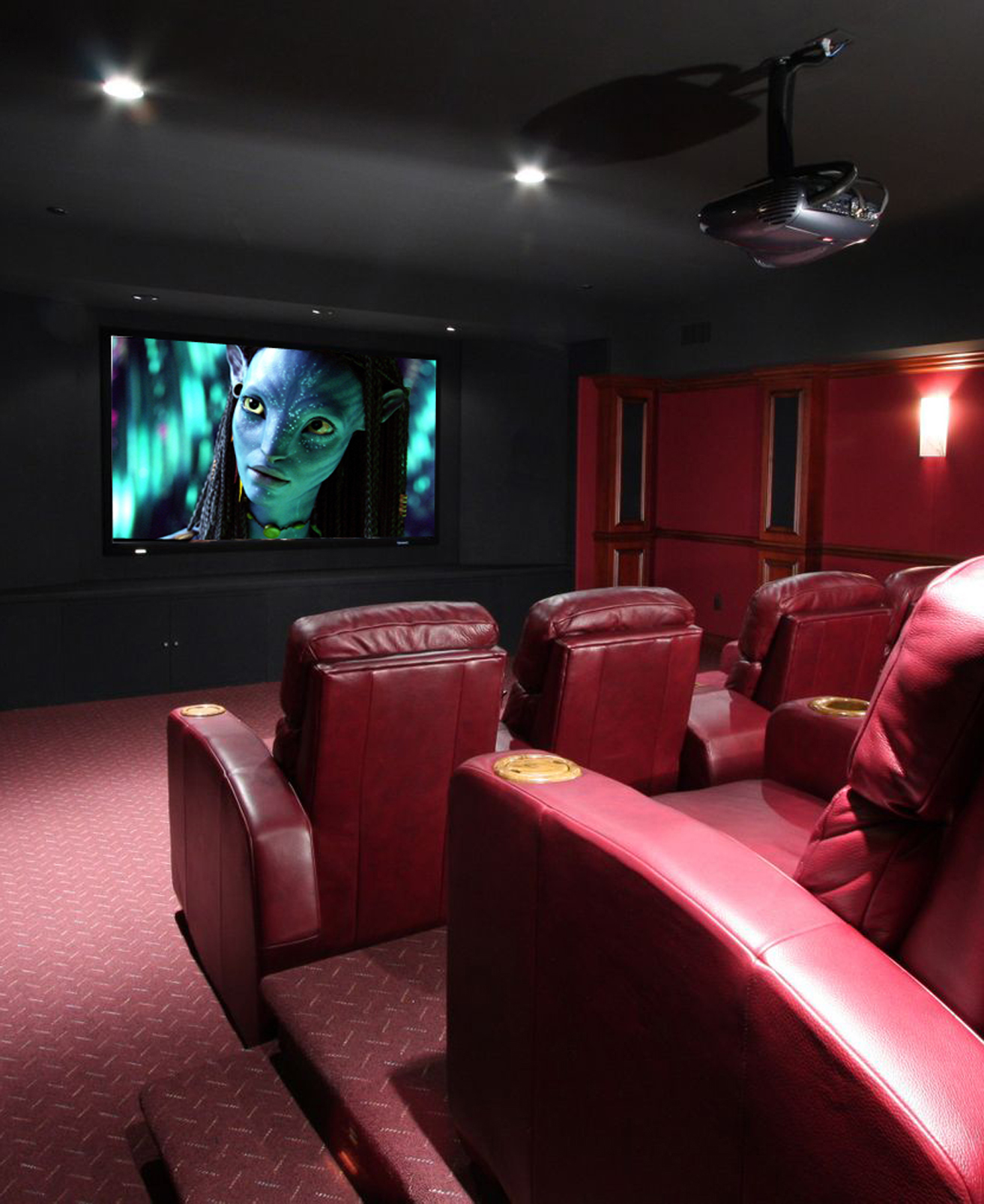 home theater with custom seating