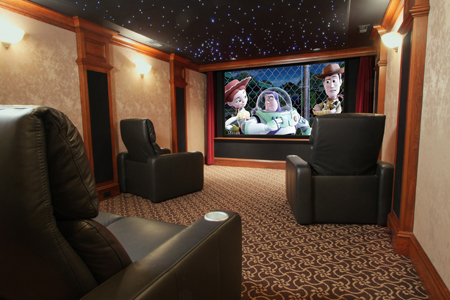 a beautiful home theater designed for a small space