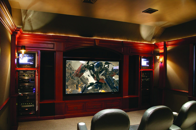 Home theater with beautiful custom millwork